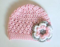 Baby Girl Crochet Flower Hat Toddler Flower Hat by jobeththompson, $16.50