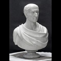 This is the marble sculpture bust of Ben West, from Brown University's Hay Library. We rebuilt the socle, or base, reattached it to the bust, replaced broken pieces of the marble and cleaned then entire piece.