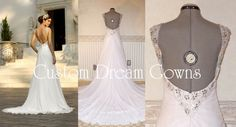 New A-Line Wedding Dress: Chic Chiffon & Crystal Beaded LOW BACK A-Line Gown with Crystal Beaded Sweethear