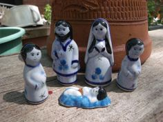 Vintage Nativity Blue Pottery 5 Piece Set by Fizzybiskit on Etsy, $13.95