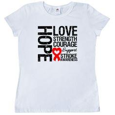 Stroke Hope Love Strength Women's T-Shirt - White | Cancer Shirts | Disease Apparel | Awareness Ribbon Colors