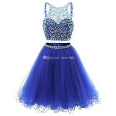 Jewel Neck Illusion Sequins Crystal Prom Dress, Shining Two Piece Low Back Short Prom Dress, Royal Blue Mini Tulle Prom Dress Royal Blue Homecoming Dresses, Grad Dresses Short, Two Piece Homecoming Dress, Prom Dresses Two Piece, Blue Evening Dresses, Royal Blue Dresses, Formal Dresses, Formal Prom, Blue Gown