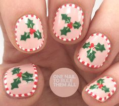 Candy Cane Holly | One Nail To Rule Them All | Bloglovin'