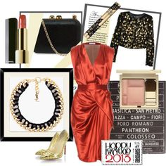 LOOK NOCHEVIEJA RED:  Vionnet Silk Dress With Dress  Dolce & Gabbana Bouclé Jacket  CHRISTIAN LOUBOUTIN SPIKE GOLDEN PIGALLE  KOTUR Margo Lizard Clutch  YVES SAINT LAURENT Black Necklace
