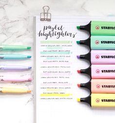The premium Stabilo highlighter features a new color range that we love and believe that you will too! Enjoy up to 4 hours cup off time with the original Stabilo Anti-Dry Out Technology. Stabilo Pastel Highlighter, Stabilo Boss Pastel, Stationary School, School Stationery, Cute Stationery, Stationary Supplies, School Suplies, Bullet Journal Notes, Back To School Supplies