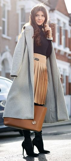 Camel Pleated Skirt Inspiration Outfit women fashion outfit clothing stylish apparel @roressclothes closet ideas