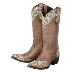 "Beautiful cowgirl boots - perfect for a wedding! Lane Boots Womens Leather Jeni Lace 13"" Snip Toe Cowgirl Style # LB0168C"