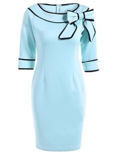Bowknot Slash Neck Pencil Dress in Light Blue | Sammydress.com