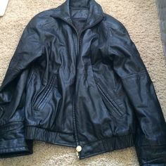 Real leather jacket. Jacqueline Ferrar leather jacket. Mens S but would fits women M- small L. Really nice quality, thick leather black zip up jacket. Jackets & Coats