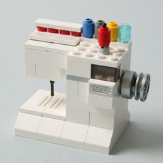 "A LEGO Sewing Machine by Spencer Starck, son of QM's Graphic Designer Denise Starck. """"¿Do I pin this in sewing or Geek. Lego Furniture, Lego Gifts, Lego Boards, Lego Craft, Cool Lego Creations, Lego Design, Lego Instructions, Lego Friends, Lego Duplo"