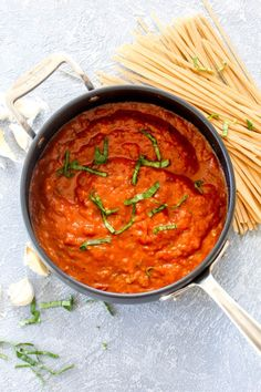 Roasted Red Pepper Pasta Sauce is an easy homemade sauce that is ready in 30 min… Sponsored Sponsored Roasted Red Pepper Pasta Sauce is an easy homemade sauce that is ready in 30 minutes! Free of tomatoes, but packed with… Continue Reading → Paleo Vegan, Vegan Roast, Vegan Foods, Roasted Red Pepper Pasta, Roasted Red Peppers, Red Pepper Sauce Pasta, Homemade Sauce, Homemade Pasta, Homemade Chili