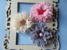 Lace flower hair clip or on matching headband by SophiesBowtiqueSI