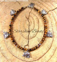 Tigers Eye Elephant Anklet by StarshineBeads #Elephantanklet #tigerseyeanklet #anklebracelet #elephants #tigerseye #jewelry #jewellery #India #bohochic #boho #beadedanklet