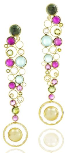 Earrings in yellow gold, set with Green Tourmaline, Pink Tourmaline, White Topaz and Golden Pearl by Vianna Brasil Gold Jewelry For Sale, Jewelry For Her, Jewelry Sets, Jewelry Accessories, Jewelry Design, Topaz Jewelry, Birthstone Jewelry, Gold Jewellery, Chanel