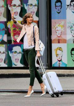 Karlie Kloss, hair, grey tee, tan leather jacket, green trousers, skinny belt, white heels