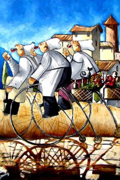 Artwork of Ronald West exhibited at Robertson Art Gallery. Original art of more than 60 top South African Artists - Since Bicycle Painting, Bicycle Art, Africa Painting, Fat Art, South African Artists, Wine Art, Le Chef, Cycling Art, Whimsical Art