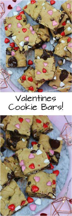 Valentines Cookie Bars!! Chocolatey, Gooey, Delicious Cookie Bars with Pink, Red and White Chocolates for Valentines!
