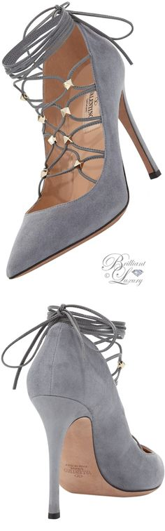 Brilliant Luxury by Emmy DE ♦ Valentino Rockstud Suede Lace-Up 105mm Pumps