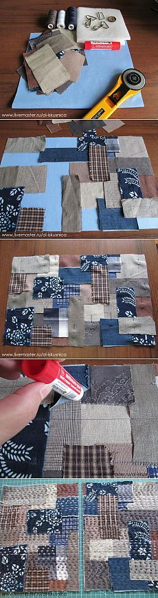 """Sashiko Scraps trimmed with rotary cutter, then arranged and """"basted"""" with a glue stick before sewing. No pins to stick your hand! - Шьем сумку в русском стиле Sashiko Embroidery, Japanese Embroidery, Embroidery Patches, Quilting Projects, Sewing Projects, Sewing Ideas, Bags Sewing, Quilting Ideas, Quilt Patterns"""