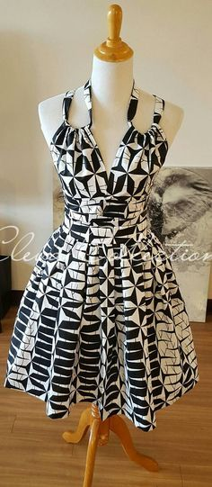 Noir blanc Halter Crop Top et jupe pagne africain Print