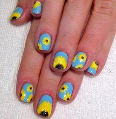 Sunflower and sky manicure.