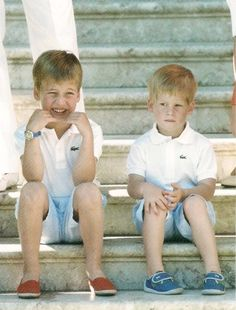 Prince William and Prince Harry (I too dress my boys in matching collared shirts).