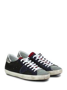 PHILIPPE MODEL PARIS - Sneakers - Uomo - Sneaker in pelle, pelle laminata, camoscio e tessuto tecnico con logo su lato esterno e suola in gomma. Tacco 25, platform 20 con battuta 5. - NERO\BLU\ROSSO - € 194.00