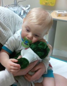 "This week, 9 month old Theo got a bear from Ottawa Police while he received care at a hospital in Ottawa. ""He named it 'Apple' because he thinks that means green"", said his father, ""and the officers also, unknowingly, helped break the stress my wife and I were experiencing as a result of the situation."" The Teddy Bear Program helps officers when they arrive at emergency scenes, so they can comfort/distract children from potentially traumatic situations. More info at…"
