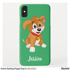 Green Smiling Puppy Dog Case-Mate iPhone Case