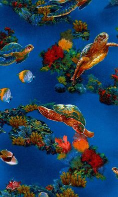 SALE 25% OFF Rainbow Cove 100 Percent Cotton Fabric - by Robert Kaufman Pattern 11842 - Turtles and Tropical Fish in Deep Blue Water - $2.24 USD