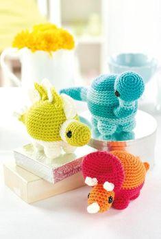 #crochet, free pattern, amigurumi, 3 dinosaurs, stuffed toy, #haken, gratis patroon (Engels), dinosaurus x 3, knuffel, speelgoed, #haakpatroon