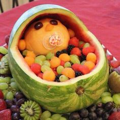 Edible fruit baby.  Wish I had seen this before my sis-in-law's shower last week.  Oh well, I probably wouldn't have had the patience to do it anyways.  Looks difficult!