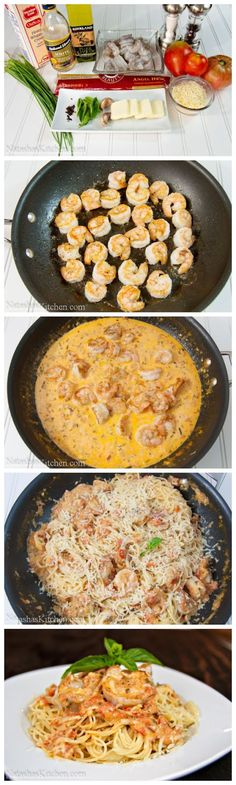 Spaghetti with Shrimp in a Creamy Tomato Sauce - Substitute with chicken stock, coconut milk, and spaghetti squash