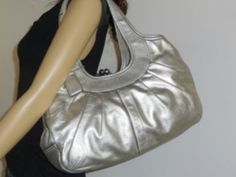 I'm auctioning '5 COACH Limited Edition Silver Leather Pleated Ergo Kiss lock Satchel ' on #tophatter