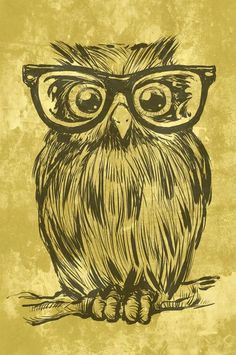 owl print with glasses