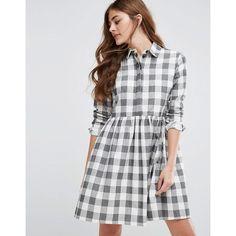 ASOS Gingham Smock Shirt Dress ($58) ❤ liked on Polyvore featuring dresses, multi, asos, t-shirt dresses, shirt dress, gingham print dress and asos dresses