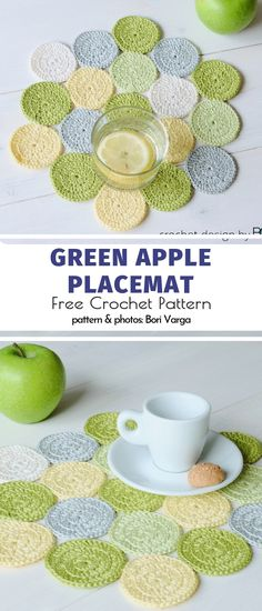 Fantastic Pics Crochet coasters and placemats Suggestions Green Apple Placemat Free Crochet Pattern This is a cool placemat, right? Easy Knitting Projects, Easy Knitting Patterns, Crochet Projects, Crochet Patterns, Crochet Placemats, Crochet Table Runner, Crochet Motifs, Free Crochet, Doilies Crochet
