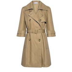 Red Valentino - Half Sleeve Trench Coat ($950) ❤ liked on Polyvore featuring outerwear, coats, brown coat, belted coats, red valentino, red valentino coat and double-breasted trench coat