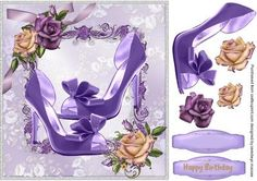 Lovely Lilac Glamour shoes and roses on Craftsuprint - Add To Basket!