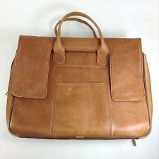 Vtg DISTRESSED Soft Brown Leather Briefcase Business LAPTOP Travel Bag