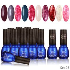 Candy Lover Glitter Snowflake Nails Artistic Colors Gel Nails Polish UV LED Light Soak Off Nails Lacquers Sets Gift 12 PCS Set no.26 -- Check this awesome product by going to the link at the image.