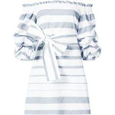 Alexis ruffled bardot dress ($396) ❤ liked on Polyvore featuring dresses, blue, flouncy dress, cotton dress, white cotton dress, white ruffle dress and flounce dress