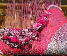 Comb weaving on SAORI loom. Hand-dyed warp.