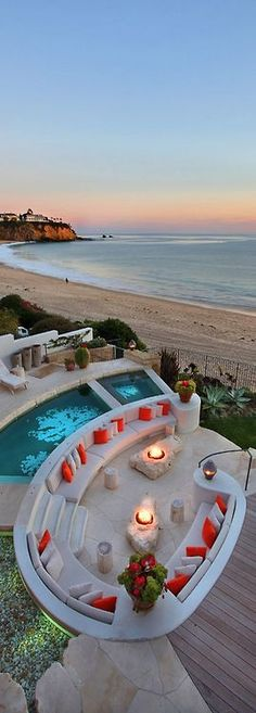 just perfect pool, seating, on the water