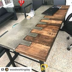 Concrete Furniture, Concrete Wood, Metal Furniture, Industrial Furniture, Diy Furniture, Furniture Design, Furniture Stores, Office Furniture, Industrial Office