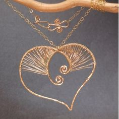 Wrapped heart scroll pendant Necklace 262