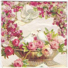 Vintage Doves with Roses