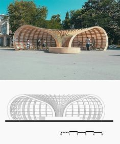 Parametric Design Helped Make this Street Library out of 240 Pieces of Wood Architect architecture Rhino Architecture, Architecture Concept Drawings, Parametric Architecture, Pavilion Architecture, Landscape Architecture Design, Parametric Design, Architecture Diagrams, Architecture Portfolio, Parametrisches Design