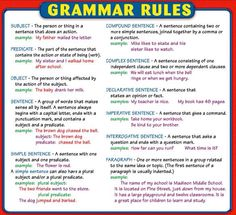 What are the basics of English grammar? English Grammar Rules, Grammar Tips, Grammar And Punctuation, Learn English Grammar, English Writing Skills, Teaching Grammar, Grammar Lessons, English Language Learning, Teaching Writing