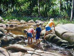 'Children Playing in the Creek' - Figurative Oil Painting By Amanda Russian, Queensland, Australia.